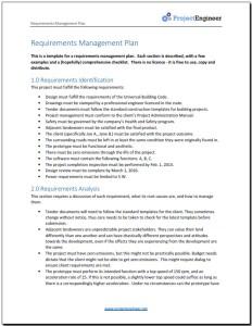 Screenshot - Requirements management plan template