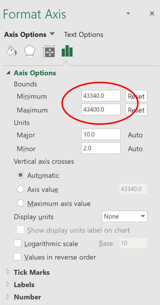 Gantt chart in Excel - format axis
