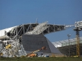 A closer view of the collapsed roof
