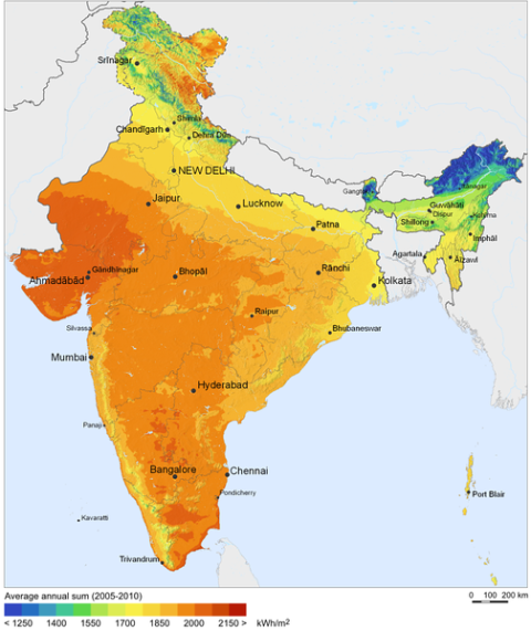 India solar power potential