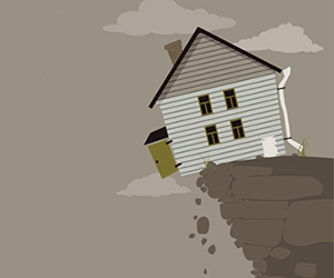 House falling from cliff
