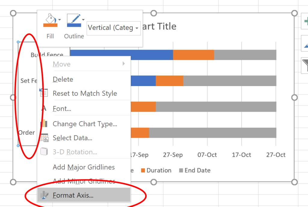 Gantt chart in Excel - reverse order