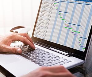 Gantt chart on laptop