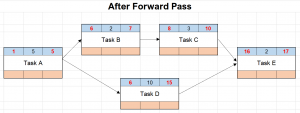Network diagram after forward pass