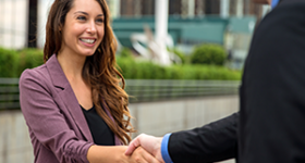 Project stakeholder shaking hands